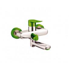 Potato смеситель для ванны, короткий поворотный излив, керамический переключатель, хром-зеленый