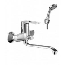 Смеситель одноручный (40 мм)  для ванны, с S-образным изл. 350 мм, диверт. с кер.пласт., хром T40-34